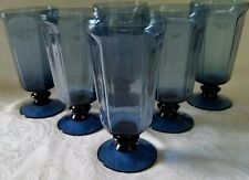 SIX  LENOX ANTIQUE SIGNED DARK BLUE GOBLET ICE TEA WATER FOOTED GLASSES MINT