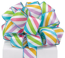 """By the Yard Wired Ribbon~1.5"""" Colorful Stripes on white satin~Scrapbook,Wreaths"""