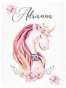 Unicorn Girl Blanket - Baby Monogram Blanket - Personalized Boho Swaddle Blanket