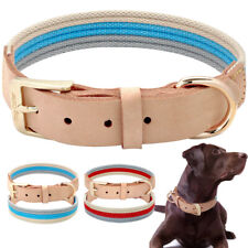 Soft Cotton Thread Braided Genuine Leather Dog Collar Heavy Duty Buckle Collar