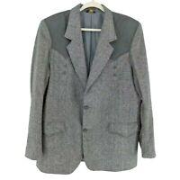 Vtg Pioneer Wear Western Blazer Sport Coat Jacket Mens 46L Trim Gray Tweed Wool