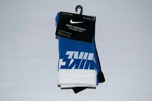 NIKE Everyday Cushioned Crew Socks 3 PACK -  SMALL 3Y/5Y - Blue/White - NWT