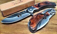Couteau de Chasse Survie Elk Ridge A/O Lame Acier 440 Manche Bois ERA162BW
