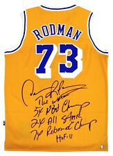 Dennis Rodman Autographed Lakers NBA Basketball Stat Jersey ASI Proof