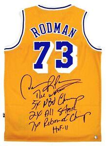 Dennis Rodman Autographed Lakers NBA Basketball Stat Jersey ASI Proof