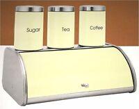 4pc Bread Bin Set Tea Coffee Sugar Storage Canister Kitchen Jar Container Cream