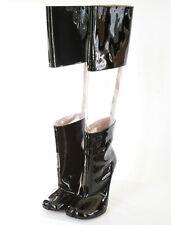 MAISON MARTIN MARGIELA split toe patent and clear knee high tabi boots 36 NEW