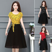Women High Rise Elegant Crew Neck Short Sleeve A-Line Irregular Stitching Dress