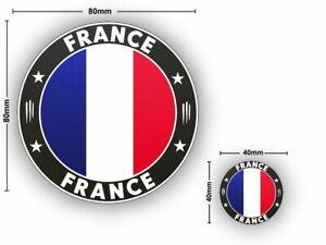 2x FRANCE Flag round Vinyl Sticker Car Van Camper Decal