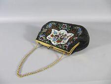 Vintage - kleine alte Perlen Handtasche mit Messingbügel