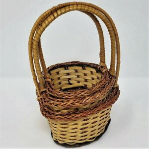 Multi Avail: Nesting WICKER Basket SET of 3 Mini HEART Handle Small Holiday Gift