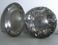 Lote de dos antiguas bandejas Latón baño plata, alpaca plateada, oval y redonda