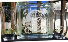 Glass Block Split Letter Sand Ceremony Set Personalized Custom Etched Glass