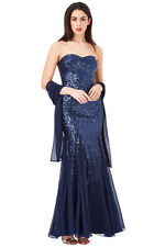 Goddiva Bandeau Sequin and Chiffon Maxi Dress with Scarf  ❤❤❤Reduced from £82.99