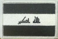 IRAQ Flag Embroidered Iron-On Patch Military BLACK & WHITE Version