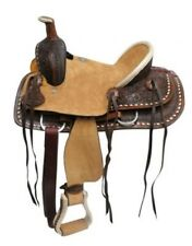 """12"""" Double T Youth hard seat roper style saddle with basket and floral tooled"""