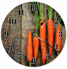 CARROTS CLOCK Large 10.5 inch Round Wall VEGGIES VEGETABLE CLOCK 2174
