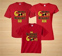 The Incredibles Disney theme Birthday Girl Family Birthday matching T-Shirts