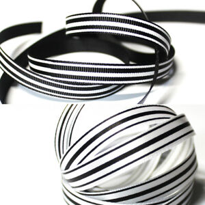 "3/8""9mm Black & White Stripe Printed 20/100 Yards Ribbon Hairbow Charm Crafting"