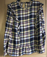 NEXT Womens Mustard Yellow Checkered Frill Long Sleeve Top Size 12