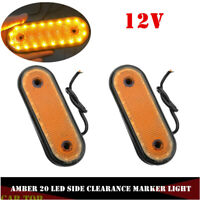2X Amber Clearance 20LED Car Truck Trailer Oval Side Marker Indicator Lights 12V
