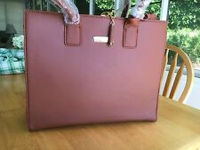 Joy & Iman Hollywood Glamour Handbag w/ 24 Section Leather Tote. - Cognac Brown