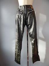 Nos ATTEMPT Vinyl Green Tiger Stripe Punk Rocker Tight Pants Psychobilly Vegan M