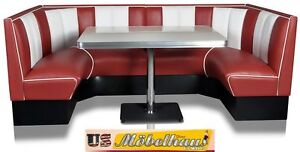 HW-120/120 Ruby American Furniture Diner Bench Corner Seat Bänk Retro USA Style