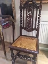 "Antique ""Poldark"" Hall Chair Late 18th/19th Century Gothic Dark Wood & Cane"
