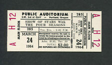 1964 Four Seasons Frankie Valli unused concert ticket Working My Way Back To You