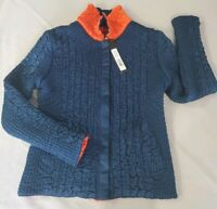 UBU WOMEN'S CRINKLE JACKET REVERSIBLE SMALL NAVY/ORANGE TRAVEL LIGHT PACKABLE