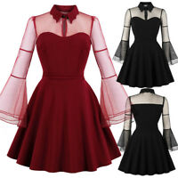 Winter Long Sleeve Solid Color Punk Vintage Party Gothic Rockabilly Swing Dresse