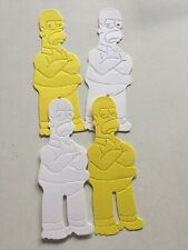4  Bart Simpson..2 yellow & 2 white.  Die Cut Card Topper Embellishments