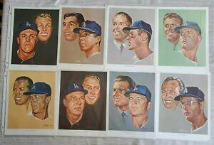 Vintage 1964 Lot of 8 Los Angeles Dodgers Union 76 Volpe Prints