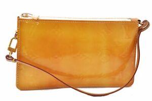 Authentic Louis Vuitton Vernis Lexington Pouch Yellow LV C6624