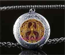 Gold Phoenix Photo Cabochon Glass Tibet Silver Locket Pendant Necklace