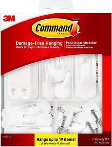 New Command White General Purpose Variety Kit 19-Pack Damage Free Hanging