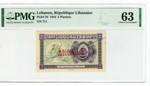 1942 Lebanon 5 Piasters Banknote PMG graded 63 PCLB 72x Cancelled