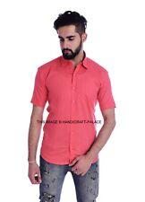 Men's Casual Regular Fit Cotton Shirt Short Sleeve Red Tops Dress Indian Shirts