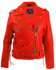 Womens top grain red leather biker motorcycle jacket zip out liner laces