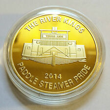 "2014 ""The River Kings"" Paddle Steamer C.O.A. 1 Oz Coin Finished in 999 24k Gold"