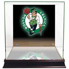 boston celtics glass basketball display case with logo background steiner - Basketball Display Case