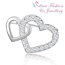 18K White Gold Plated Made With Swarovski Crystal Shinny Double Heart Brooch