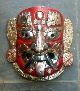Demon Lakhey Wooden and copper decorated hanging Mask