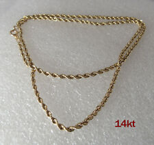 """14K yellow gold twisted Rope 18"""" Chain 2mm thick 2.6g signed MA not scrap"""
