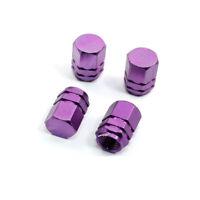 Lot de 4 bouchons de valve en aluminium v2 - Couleur : violet - Auto, Moto, Vélo
