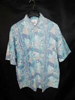 Vintage 80s Body Objects XL Blue Hawaiian Surf Shirt Reverse Print Short Sleeve