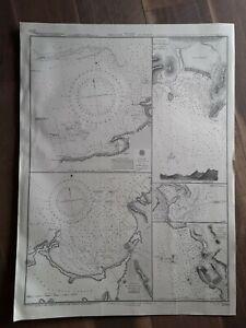 Vintage Nautical Maritime Chart Map West Indies Antilles - Plans Of Ports
