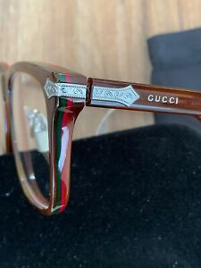 NEW PRP£400 GUCCI Titanium GG0069O 007 PREPPY SQUARE READING EYE GLASSES FRAME