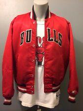 Vtg Chicago Bulls Starter Jacket Lg NBA Red Jordan Hip Hop 80s 90s Satin Large